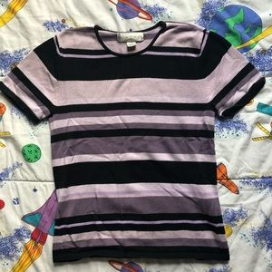 VTG 90s Purple Black Striped Knit Tee